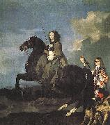 Sebastien Bourdon Queen Christina of Sweden on Horseback oil painting reproduction