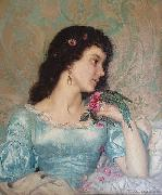 Weerts Jean Joseph Beautiful pensive portrait of a young woman with a bird and flower oil painting artist
