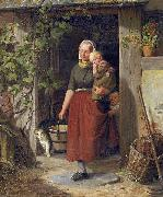 Adolph Heinrich Richter A young wine grower and her children oil painting