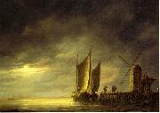 Aelbert Cuyp Fishing boats by moonlight. oil