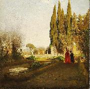 Albert Hertel In the gardens of Castel Gandolfo oil painting