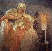 Alphonse Mucha Woman With a Burning Candle oil