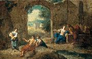 Andrea Locatelli Figures in a Landscape oil painting
