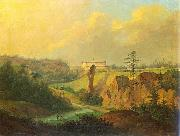 Antoni Lange View from Ojcow - View of Pieskowa Skala Castle. oil painting