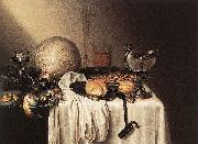 BOELEMA DE STOMME, Maerten Still-Life with a Bearded Man Crock and a Nautilus Shell Cup oil painting artist