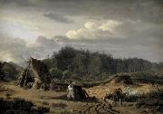 Fritz Petzholdt A Bog with Peat Cutters. Hosterkob, Sealand oil