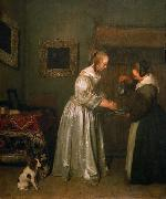 Gerard ter Borch the Younger A lady washing her hands. oil painting
