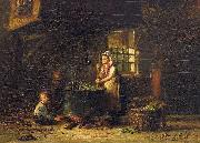 Hendrik Valkenburg An old kitchen with a mother and two children at the cauldron oil painting on canvas