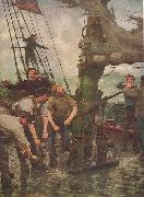 Henry Scott Tuke ALL HANDS TO THE PUMPS oil painting artist
