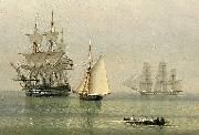 John ward of hull Warships on a calm sea oil