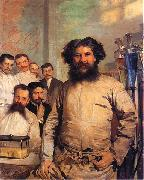 Leon Wyczolkowski Portrait of Ludwik Rydygier with his assistants. oil painting artist