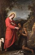 Matteo Rosselli Jesus and John the Baptist meet in their youth oil painting artist