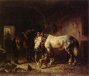 Wouterus Verschuur Saddling the horses oil painting reproduction