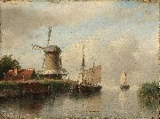 Andreas Schelfhout Dutch boats moored on a river beside a windmill oil painting
