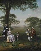 Arthur Devis The Clavey family in their garden at Hampstead oil