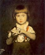 Bertalan Szekely Boy with Bread and Butter oil painting