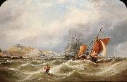 Ebenezer Colls A heavy swell off Dover Harbour, with a Channel packet coming in oil painting