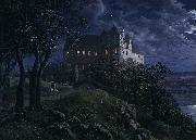 Ernst Oppler Burg Scharfenberg at Night oil painting