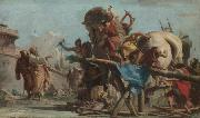 Giovanni Domenico Tiepolo Building of the Troyan Horse oil painting artist