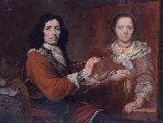 Giulio Quaglio Self Portrait of the Artist Painting his Wife oil painting