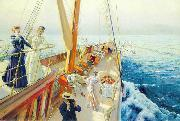 Julius LeBlanc Stewart Yachting in the Mediterranean oil painting reproduction