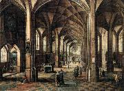 MINDERHOUT, Hendrik van Interior of a Church with a Family in the Foreground oil painting artist