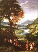 Gian  Battista Viola Landscape with Meleager and Atlanta oil painting artist