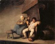 Adriaen van ostade A Peasant Couple in an  interior oil