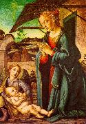 BOTTICINI, Francesco The Madonna Adoring the Child Jesus oil painting