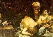 CAGNACCI, Guido Sleeping Christ with Zacharias John the Baptist oil painting artist