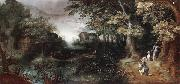 Claes Dircksz.van er heck A wooded landscape with huntsmen in the foreground,a town beyond oil