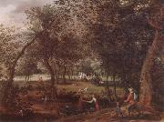 David Vinckboons A wooded river landscape with saint john the baptist preaching inthe distance oil painting artist