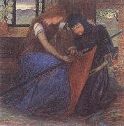 Elizabeth Siddal A Lady Affixing a Pennant to a Knight's Spear oil painting picture wholesale