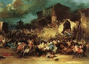 Eugenio Lucas Velazquez Village Bullfight oil painting artist