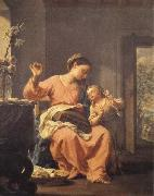 Francesco Trevisani Madonna Sewing with Child oil painting artist