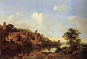 HEYDEN, Jan van der A Fortified Castle on a Riverbank oil painting picture wholesale