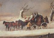 Henry Alken Jnr The Bath To London Royalmail Coach in the snow oil painting artist