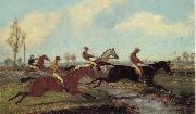 Henry Alken Jnr Over the Water,Past a Marker over the Ditch oil painting artist
