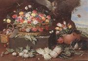 Jan Van Kessel Still life of various flwers in a basket,tulips in a copper pot hortensias,asparagi and artichokes laid out on the ground,together with an owl,butterf oil painting picture wholesale