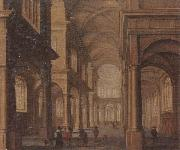Jan Van Vucht The interior of a reformed church,with a beggar soliciting alms from an elegant company oil painting picture wholesale