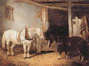 John Frederick Herring Three Horses in A stable,Feeding From a Manger oil painting artist