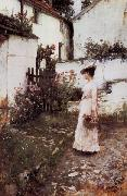 John William Waterhouse Gathering Flowers in a Devonshire Garden oil painting picture wholesale