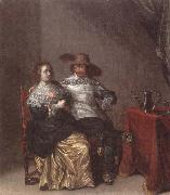 Laurentius de Neter An interior with a soldier makng advances to a lady,deside a table draped with a red cloth,with a pewther jug and an upturned roemer on a pewter dish oil painting picture wholesale