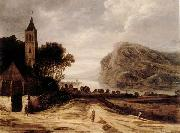 Philippe de Momper An extensiver river landscape with a church,cattle grazing and a traveller on a track oil painting artist
