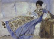 Pierre Renoir Madame Monet Reclining on a Sofa Reading Le Figaro oil painting picture wholesale