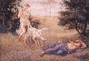 Walter Crane Diana and Endymion oil painting artist