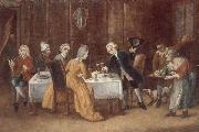 unknow artist An elegant interior with a lady and gentleman toasting,other figures drinking and smoking at the table oil painting picture wholesale