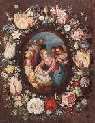 unknow artist The nativity encircled by a garland of flowers oil painting picture wholesale