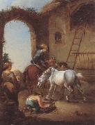 unknow artist Horsemen saddling their horses oil painting picture wholesale