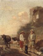 unknow artist A landscape with young boys tending their animals before a set of ruins oil painting picture wholesale